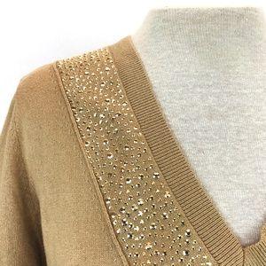 NWT Michael Kors Dark Camel Embellished Sweater L